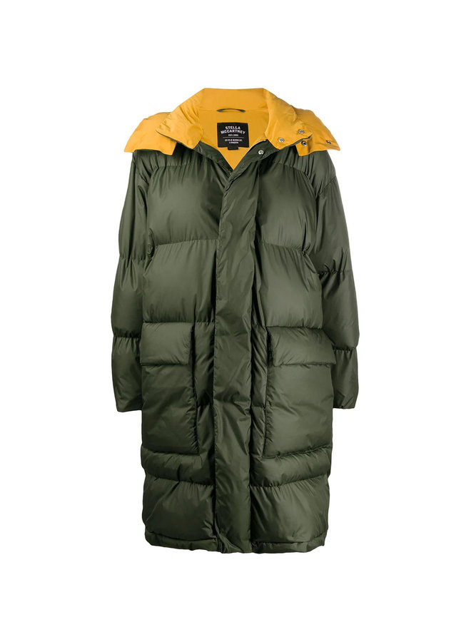 Mid Length Padded Coat with Hoodie in Khaki Green