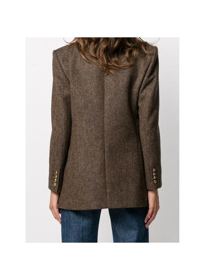 Double Breasted Blazer Jacket in Marron Melange