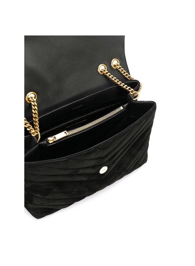 Loulou Medium Shoulder Bag in Suede in Black