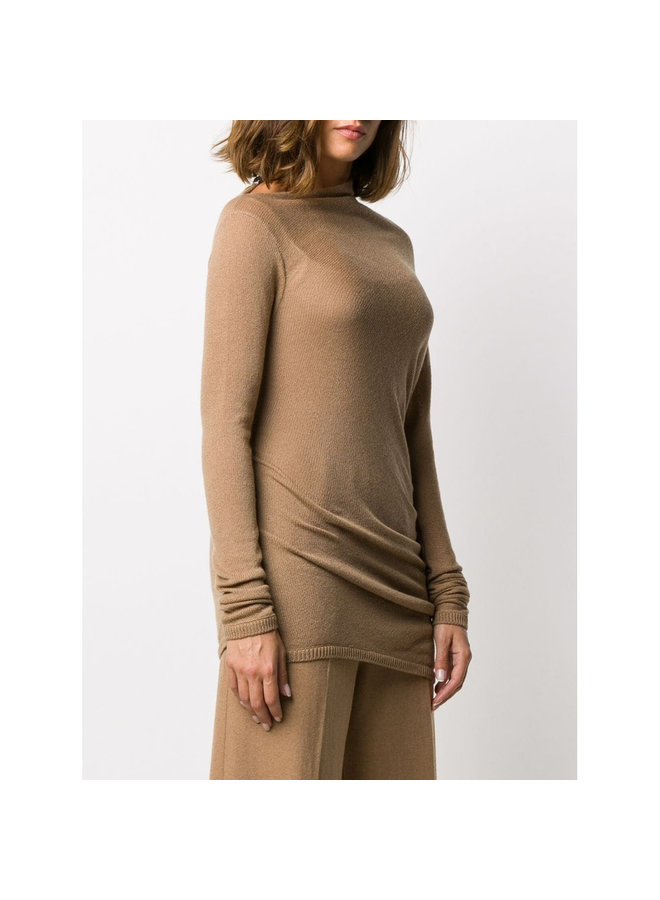 Asymmetric Draped Knit in Cashmere in Camel