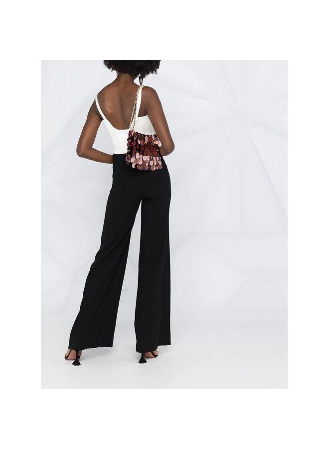 Flared Full Length Jumpsuit in Black/White