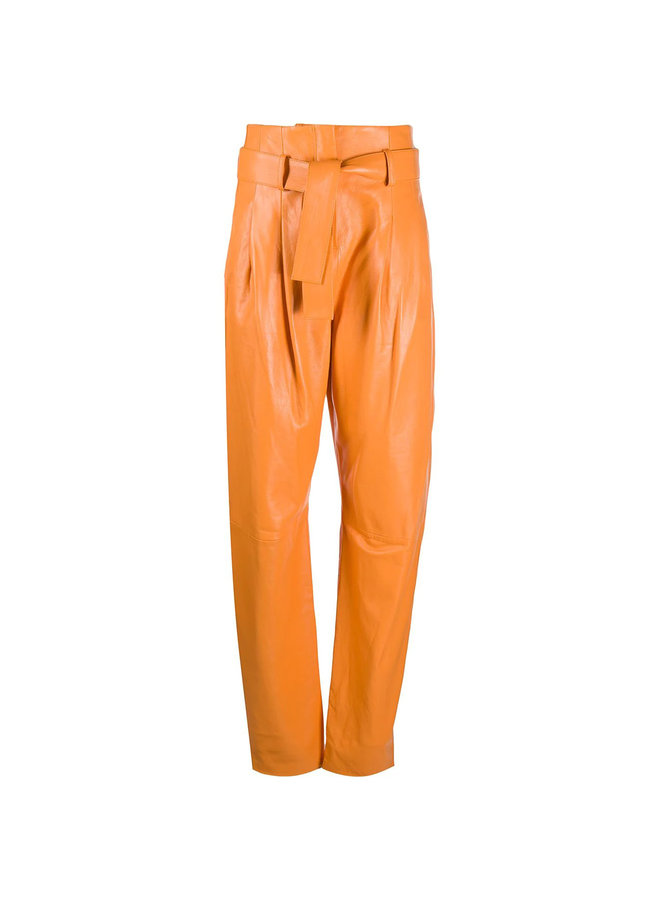 High Waisted Pants in Leather in Orange