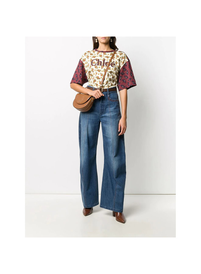 High Waisted Wide Leg Pants in Denim Blue