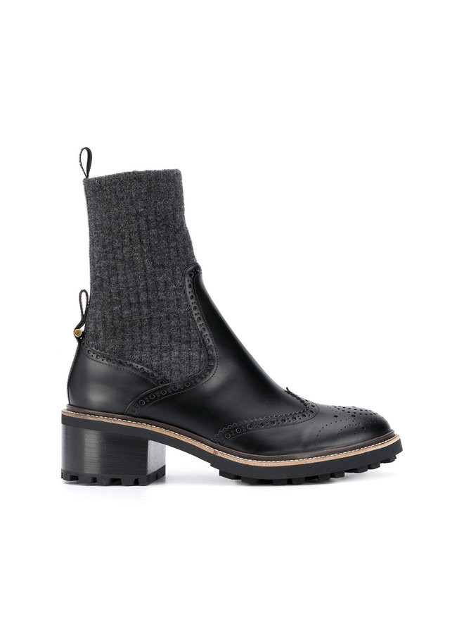 Sock Ankle Boots in Leather in Black