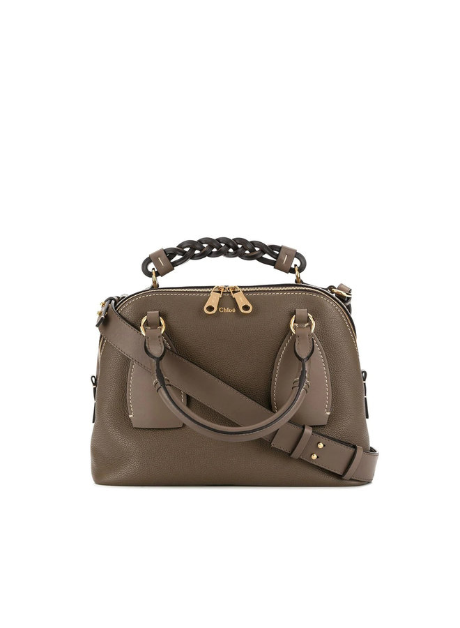 Daria Medium Crossbody Bag in Leather in Army Green