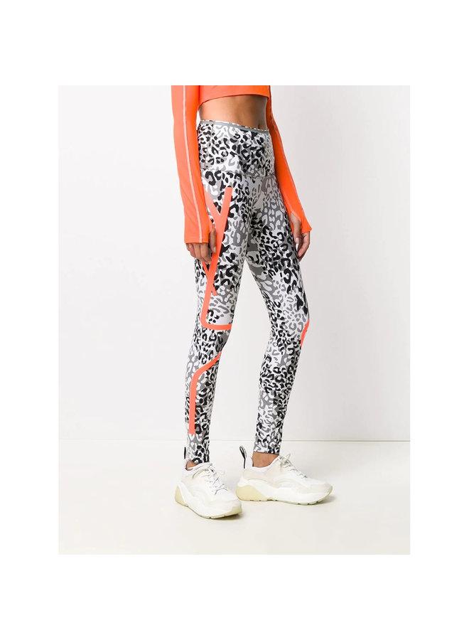 Stripe Detail Leopard Print Leggings in Multicolor