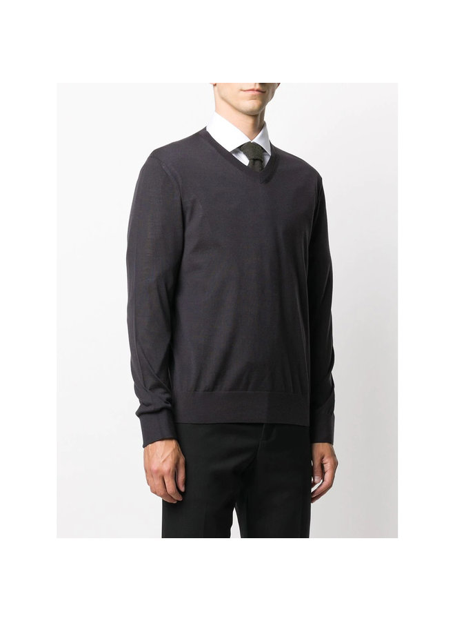 V-Neck Knitwear Jumper in Wool in Navy