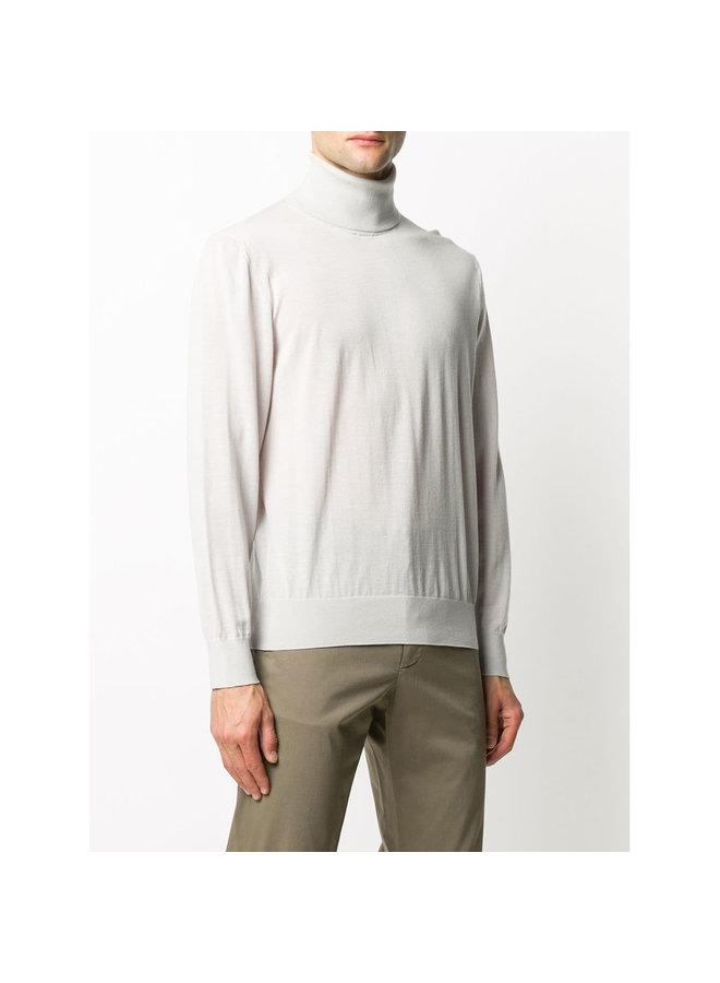 Turtleneck Knitted Jumper in Wool in Off White