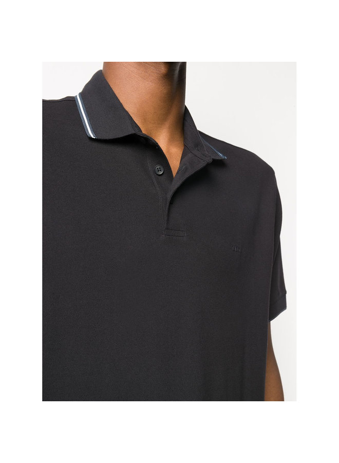 Stripe Detail Polo T-shirt in Stretch Cotton in Navy