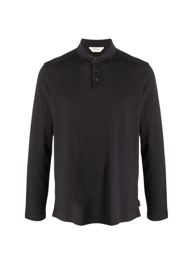 Long Sleeve Polo T-shirt in Stretch Cotton in Blue