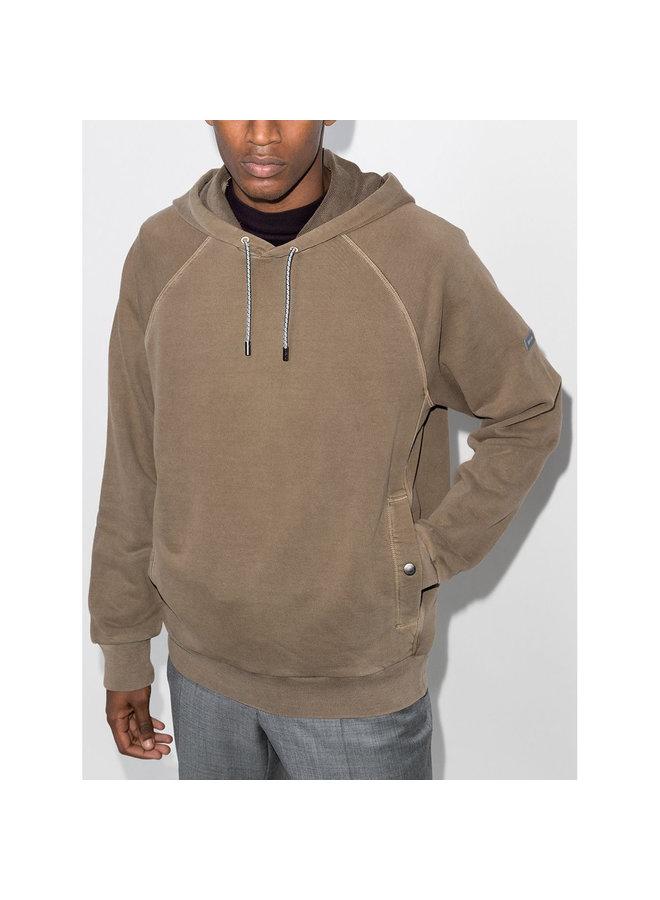 Drawstring Hoodie Sweatshirt in Cotton in Brown/Khaki