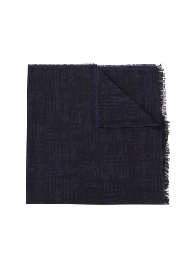 Knitted Frayed-Edge Scarf