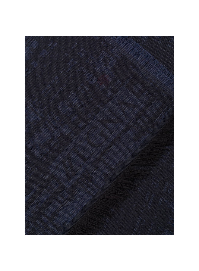 Knitted Frayed-Edge Scarf in Wool/Silk in Navy