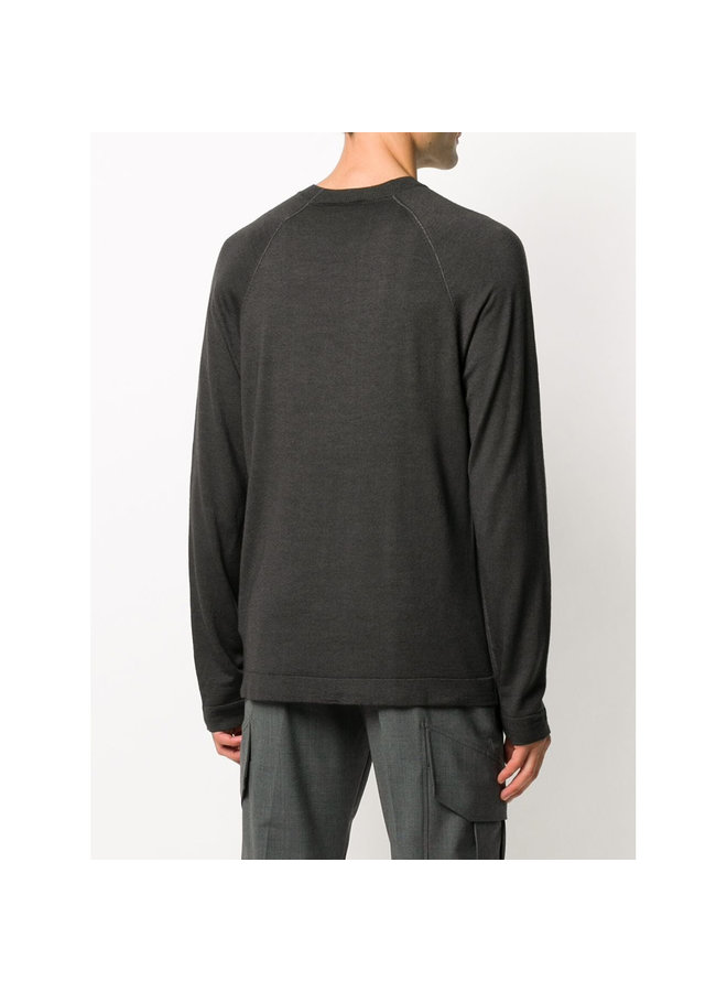 Crew Neck Knitwear Sweater in Wool in Dark Grey