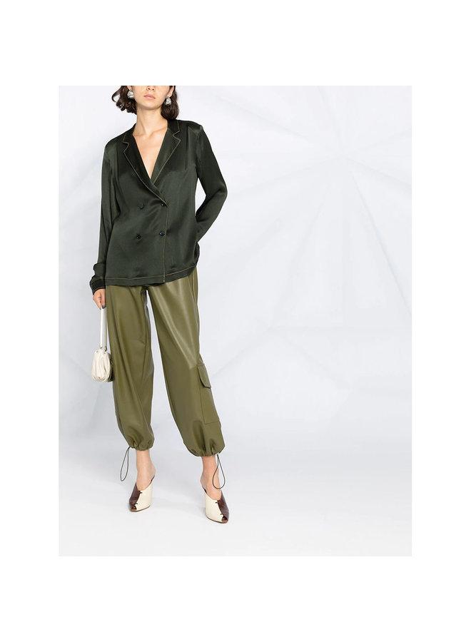 Crossover Button Shirt in Silk in Dark Green