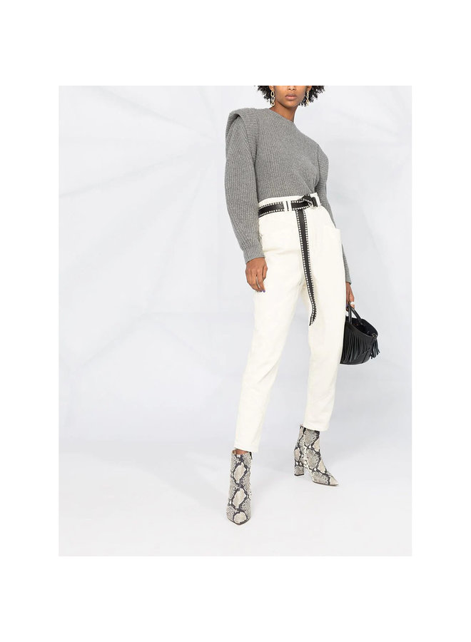 High Waisted Cropped Pants in Cotton in Ecru
