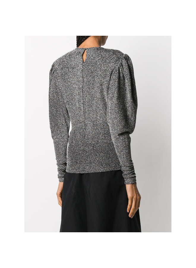 Long Sleeve Top in Lurex in Silver