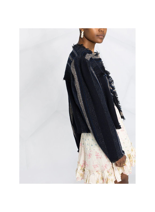 Cropped Tweed Jacket in Fringed Woven Stripe in Midnight Blue