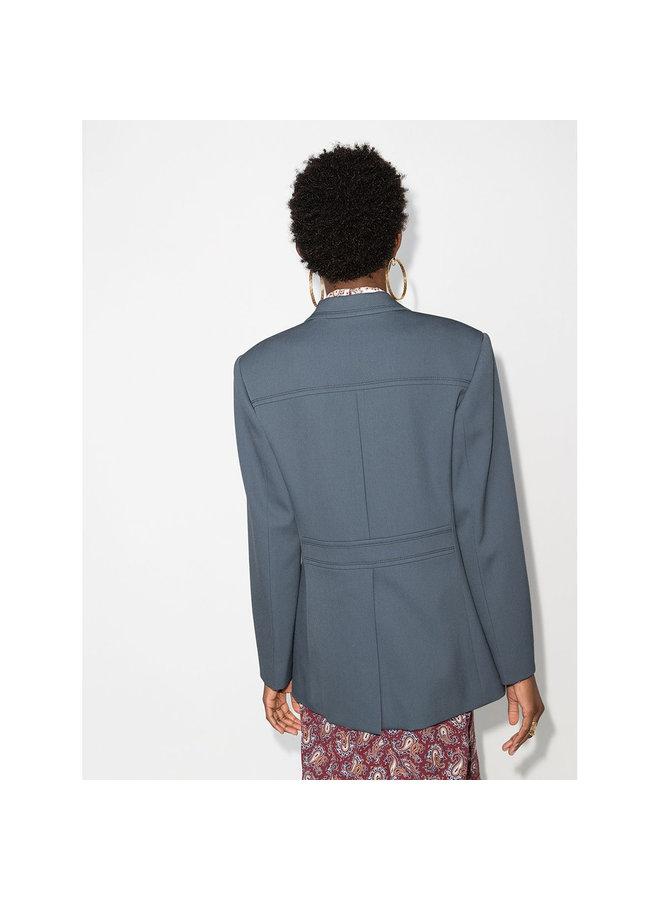 Single Breasted Blazer Jacket in Wool in Stormy Blue