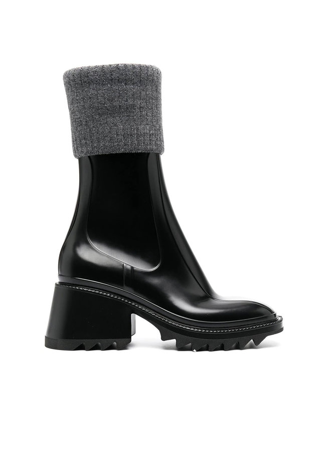 Ankle Boots with Knit Detail in Rubber in Black