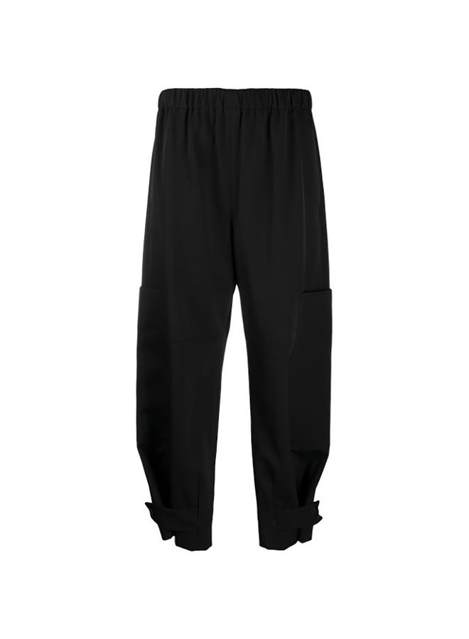 High Waisted Wide Leg Pants in Wool in Black