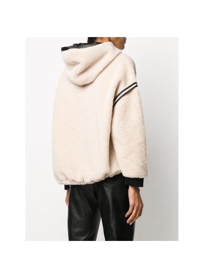 Hoodie Sweatshirt in Faux Shearling Wool in Hazel