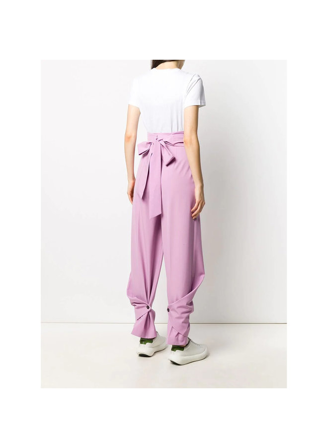 High Waisted Pleated Pants in Wool in Pale Pink