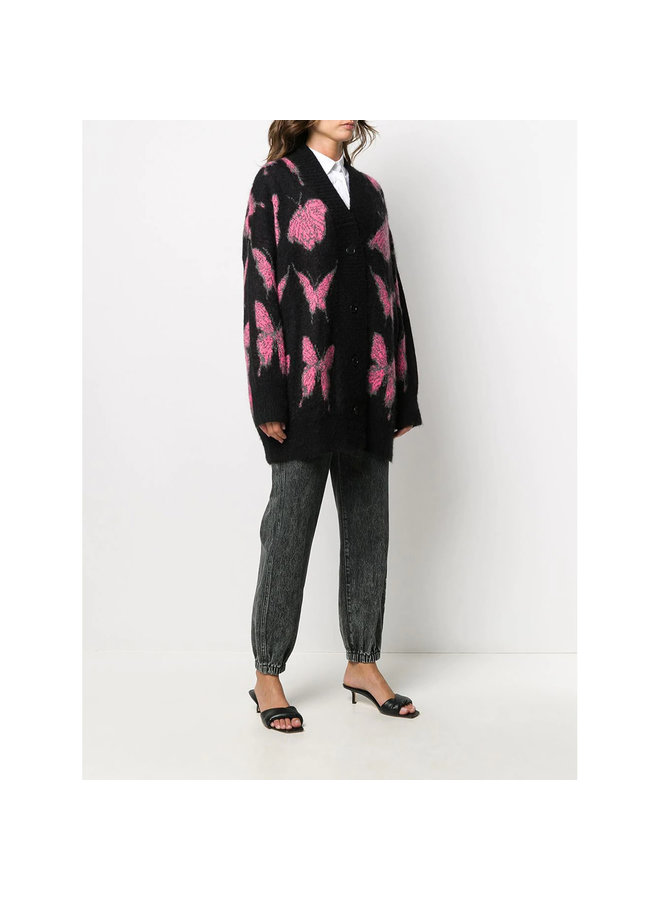 Long Cardigan in Butterfly Print in Wool in Black