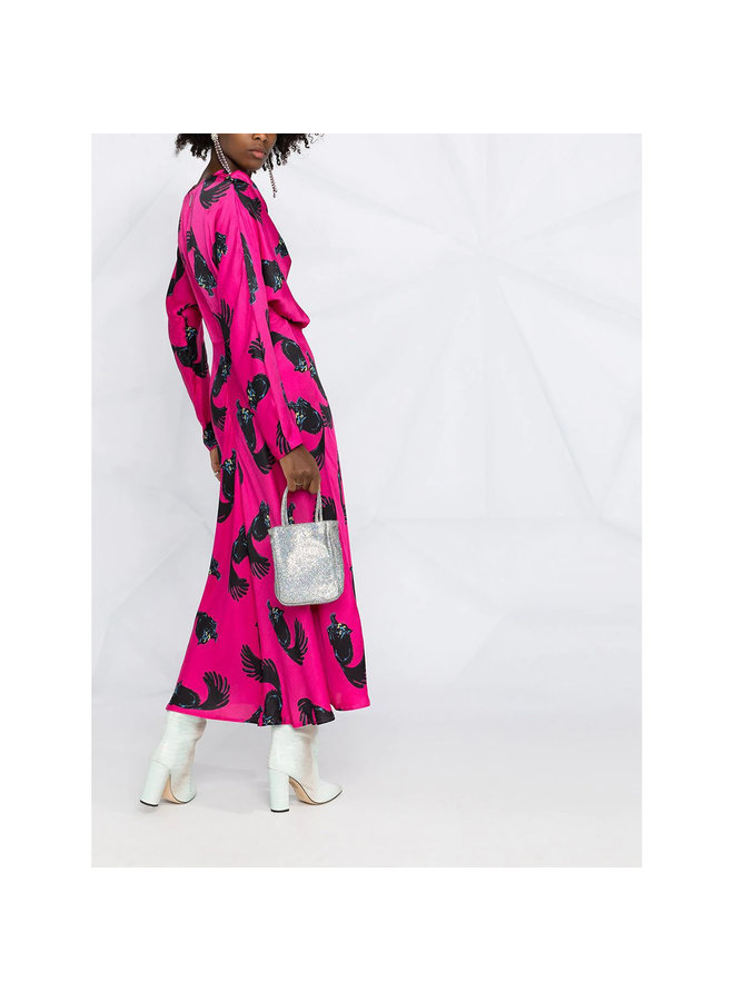 Long Dress in Cat Print in Fuschia
