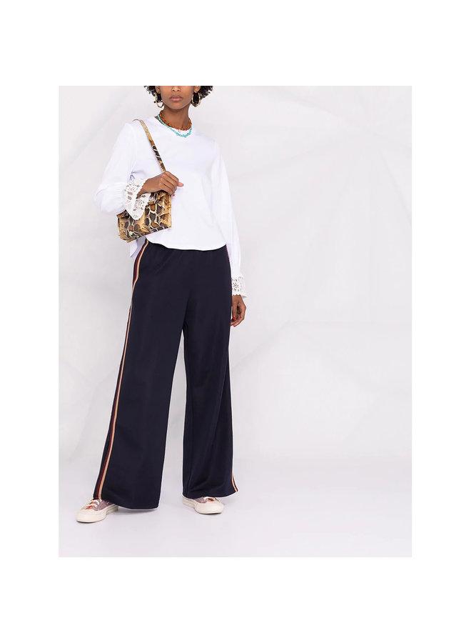 Wide Leg Track Pants in Cotton in Dark Denim