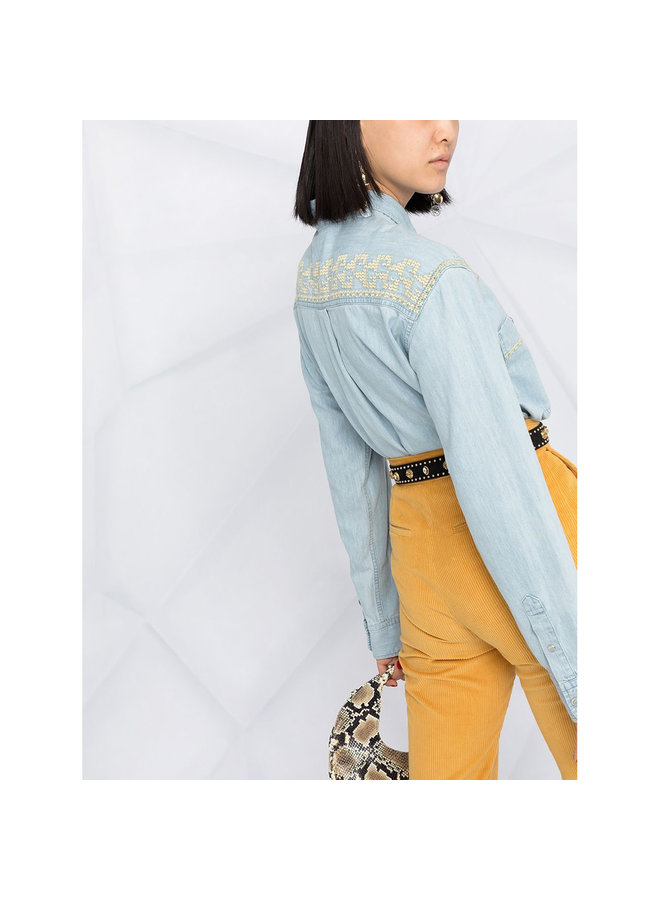 Embroidered Denim Shirt in Light Blue