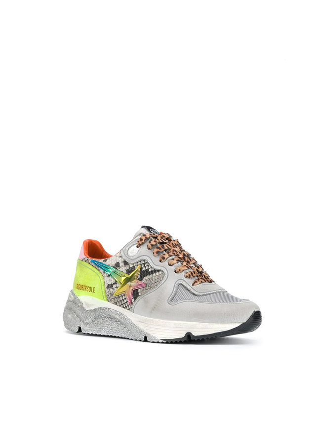 Running Sole Sneakers in Leather with Snake Print in White
