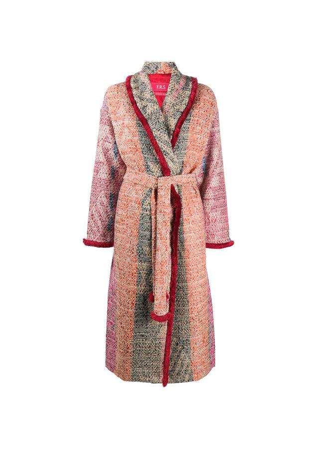 Long Belted Coat in Wool in Multicolor Carpet
