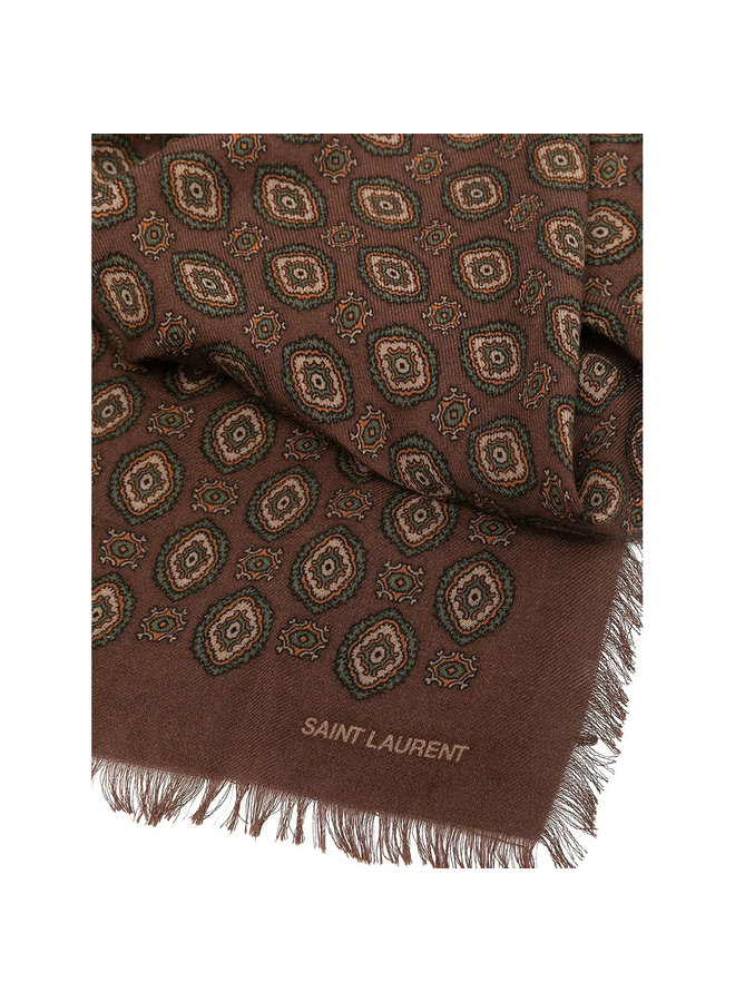 Vintage Motif Printed Scarf in Cashmere/Silk in Brown
