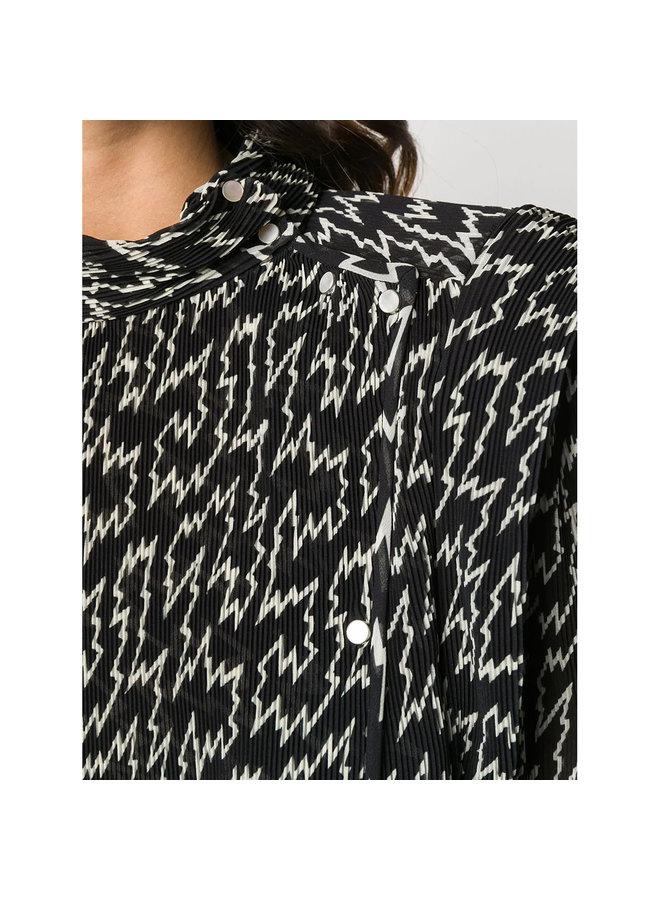 Long Sleeve Printed Blouse in Silk in Black