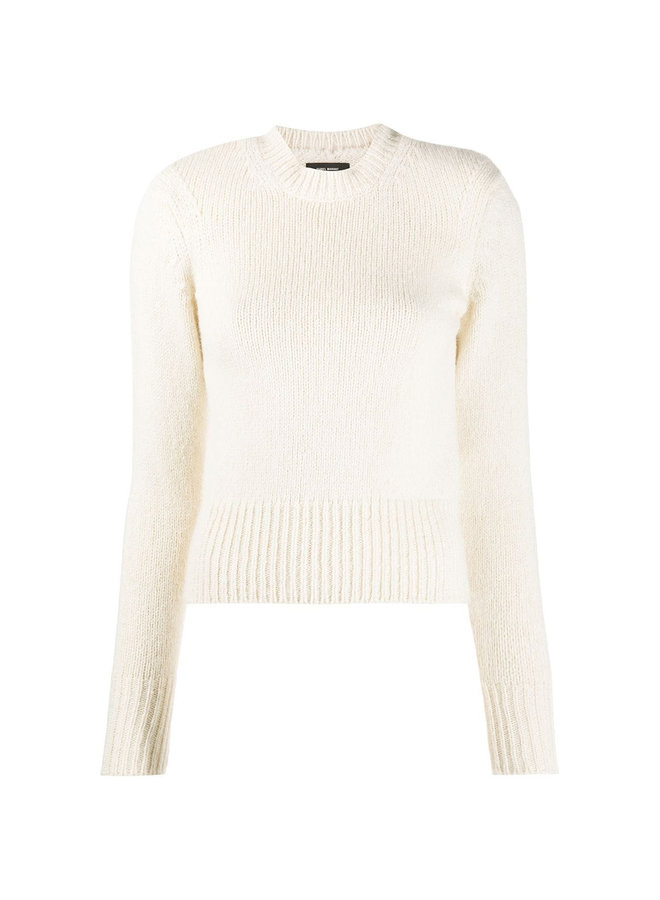 Mock Neck Ribbed Knit Jumper in Wool in Ecru