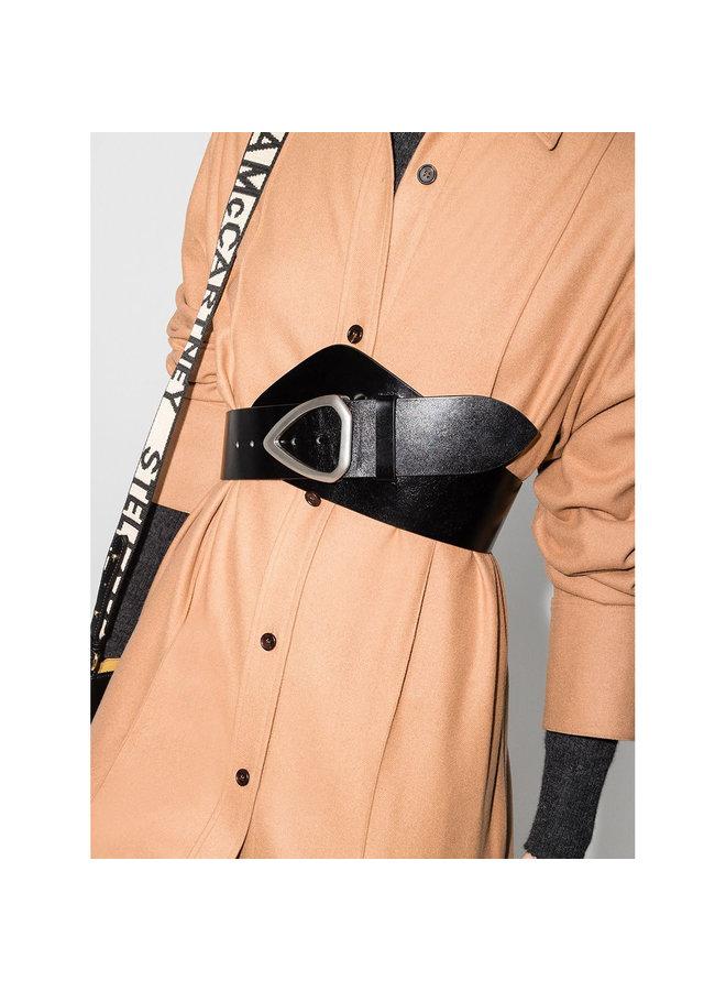 Waist Belt in Leather in Black