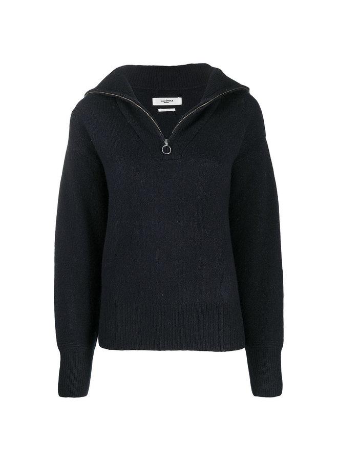 Long Sleeve Zip Front Jumper in Wool in Grey