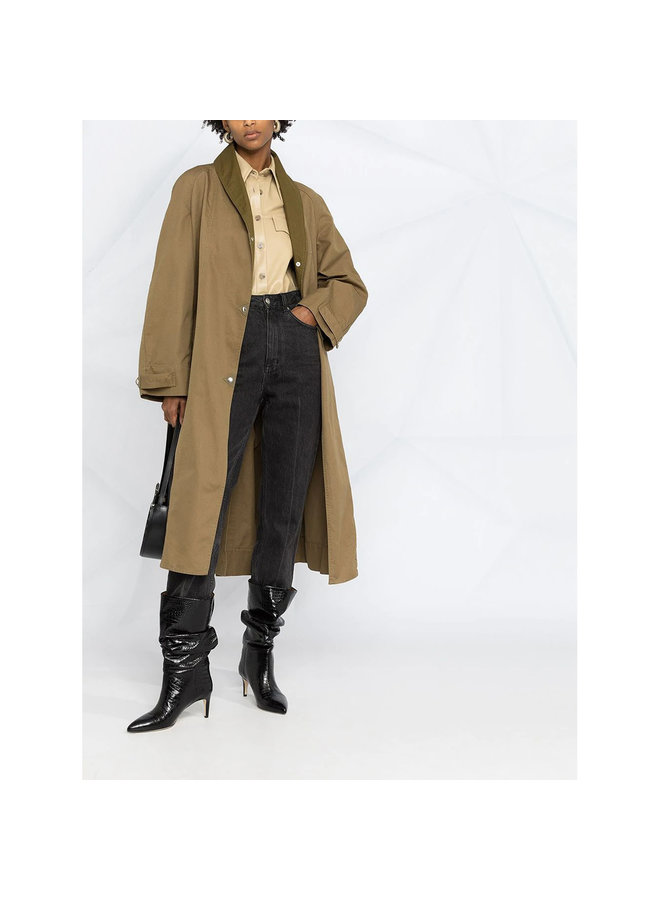 Long Belted Trench Coat in Cotton in Khaki