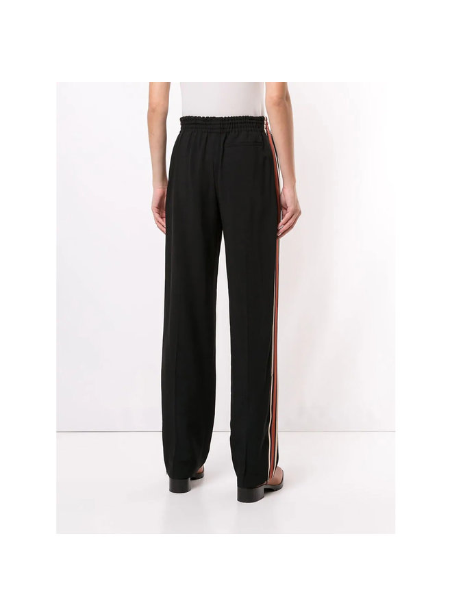 Straight Leg Track Pants with Elastic Waist in Black