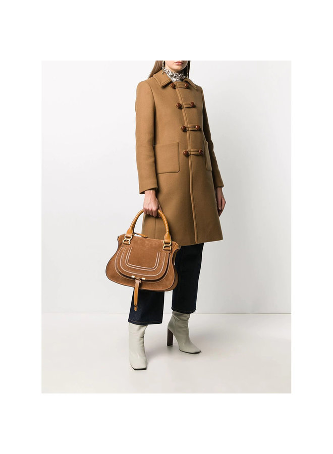 Large Marcie Shoulder Bag in Leather in Camel