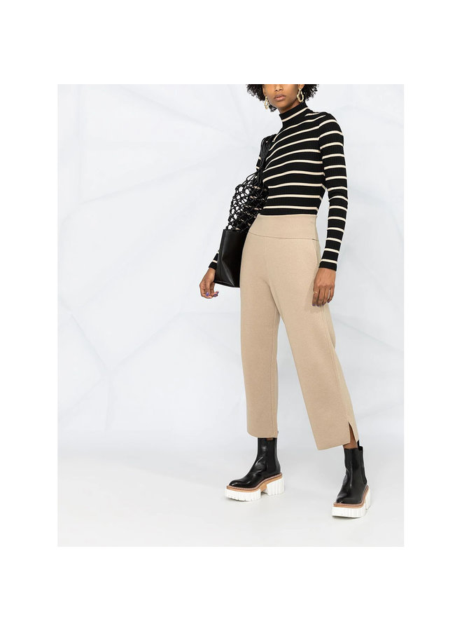 Straight Leg Cropped Casual Pants in Wool in Almond