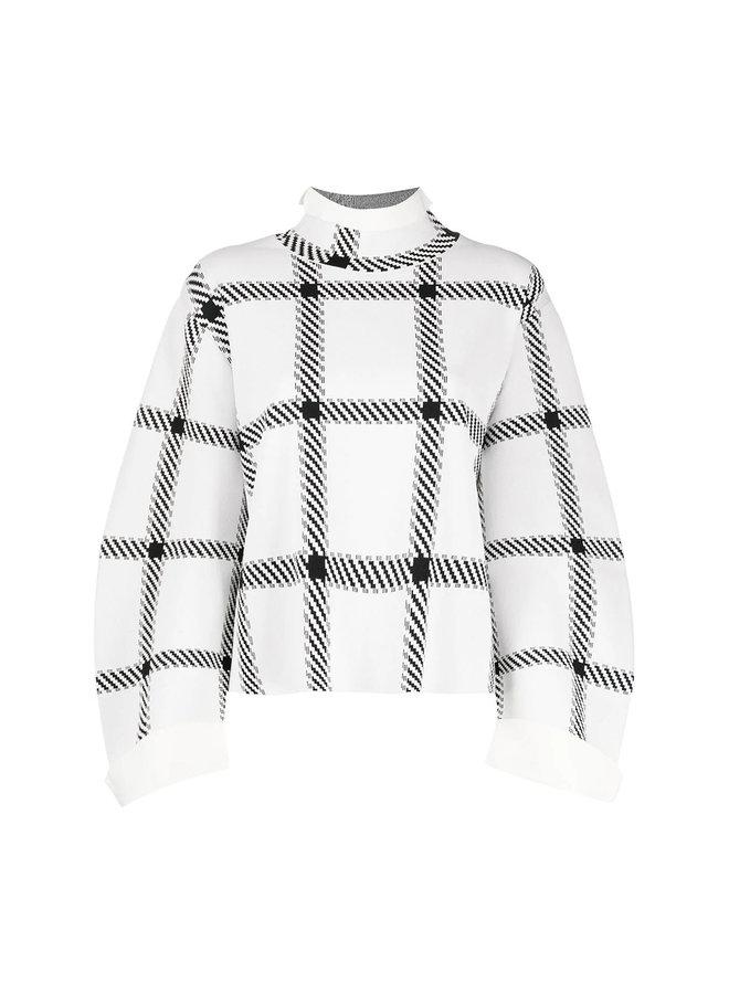 High Neck Checks Knitwear Top