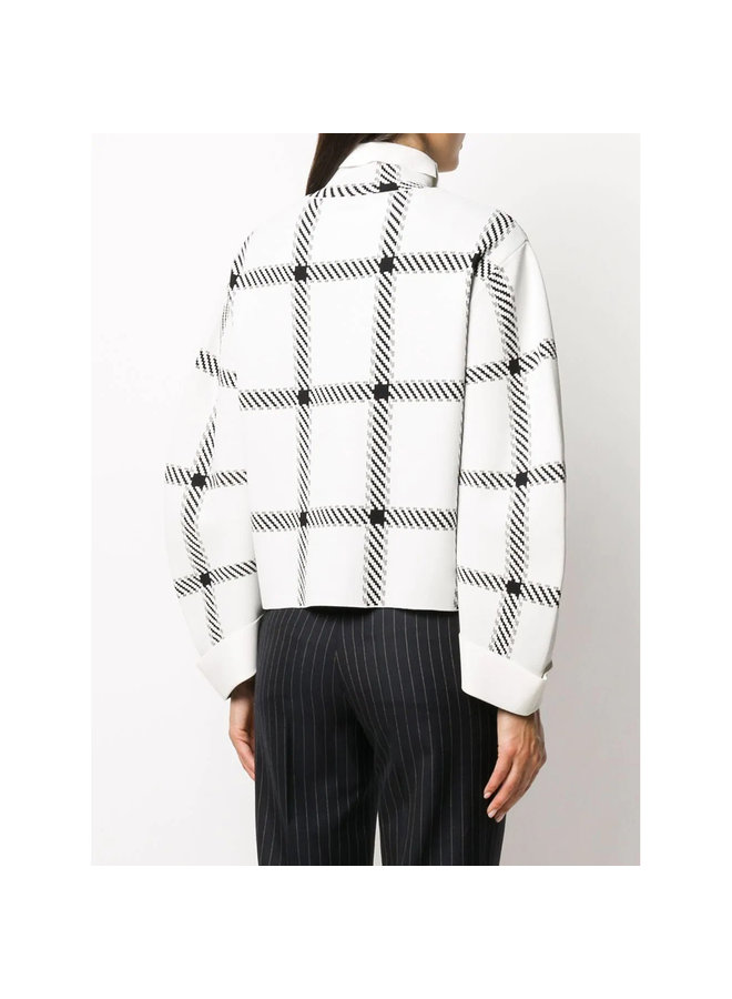 High Neck Check Pattern Knitwear Top in White/Black