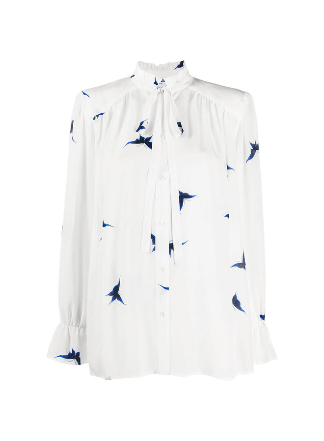 Long Sleeve Pussy-bow  Printed Blouse in Silk in White