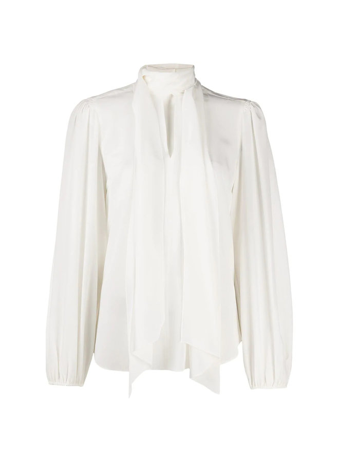 Long Sleeve Pussy-bow Blouse in Silk in White