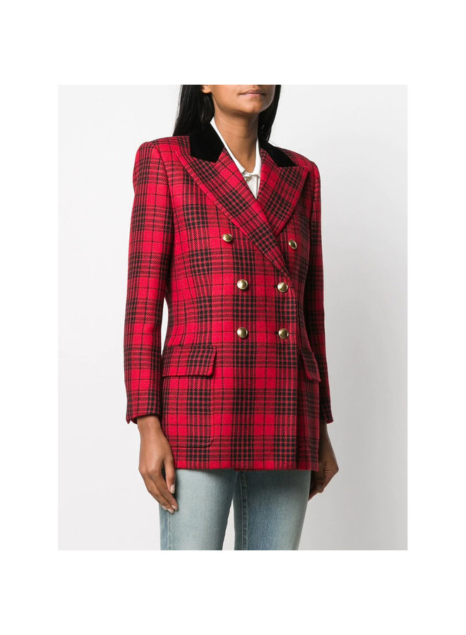 Double Breasted Blazer Jacket in Check Red Pattern