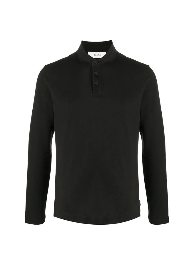 Long Sleeve Polo T-shirt in  Stretch Cotton in Black