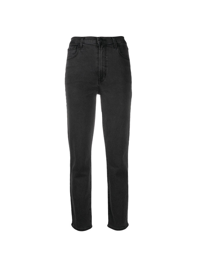 High Rise Straight Leg Jeans in Dark Grey