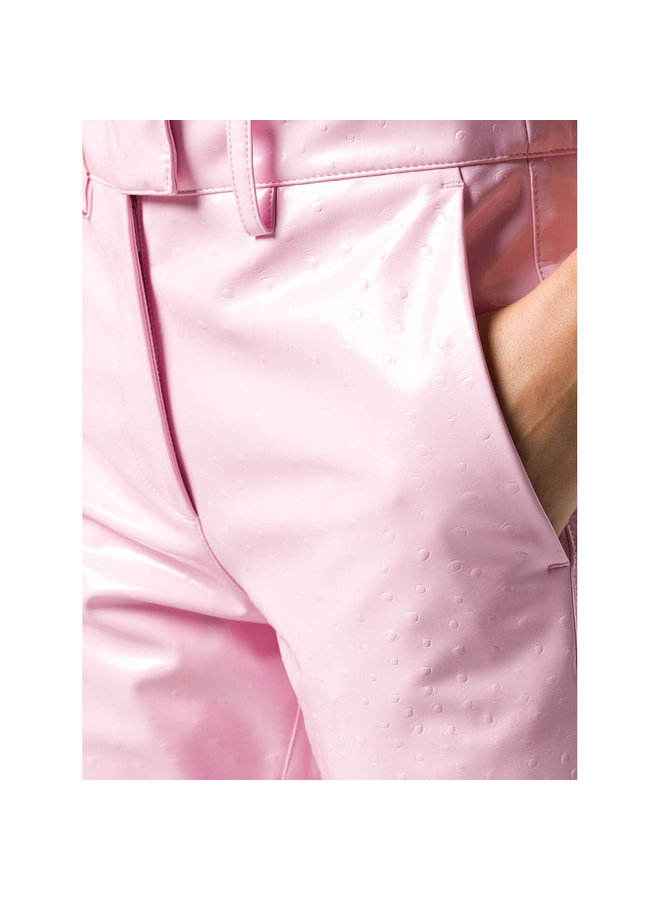High Waisted Straight Leg Pants in Vinyl in Pale Pink